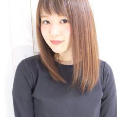 パーマ 縮毛矯正 ストレート ミディアム ヘアスタイルや髪型の写真・画像