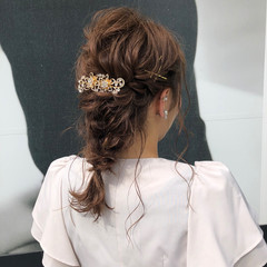 エレガント 編みおろしヘア 結婚式ヘアアレンジ ロング ヘアスタイルや髪型の写真・画像