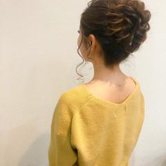 ヘアセット アップ ヘアアレンジ セミロング ヘアスタイルや髪型の写真・画像