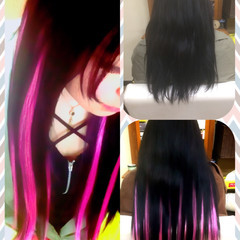 セミロング ストリート ハイライト 黒髪 ヘアスタイルや髪型の写真・画像