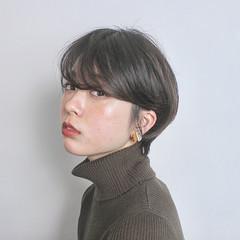 ショートボブ 黒髪 簡単ヘアアレンジ モード ヘアスタイルや髪型の写真・画像