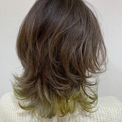ショートボブ ブリーチ インナーカラー セミロング ヘアスタイルや髪型の写真・画像