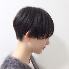 黒髪 モード ショート ウェットヘア ヘアスタイルや髪型の写真・画像