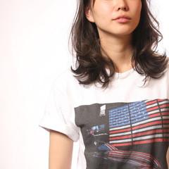 暗髪 大人女子 アッシュ セミロング ヘアスタイルや髪型の写真・画像