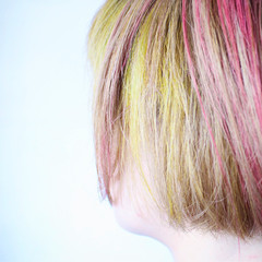 インナーカラー ピンク ボブ ハイトーン ヘアスタイルや髪型の写真・画像