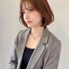 韓国風ヘアー シースルーバング ボブ フェミニン ヘアスタイルや髪型の写真・画像