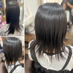 エレガント 縮毛矯正 髪質改善カラー セミロング ヘアスタイルや髪型の写真・画像
