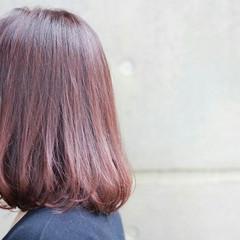 ロブ ガーリー グラデーションカラー ベリーピンク ヘアスタイルや髪型の写真・画像