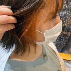 ストリート ブラットオレンジ レイヤーカット ボブ ヘアスタイルや髪型の写真・画像