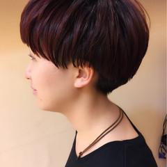 パープル グラデーションカラー ショート レッド ヘアスタイルや髪型の写真・画像