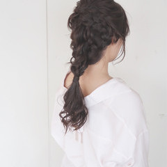 編み込み ヘアアレンジ 女子会 大人かわいい ヘアスタイルや髪型の写真・画像