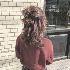 ヘアアレンジ お団子 セミロング 簡単ヘアアレンジ ヘアスタイルや髪型の写真・画像