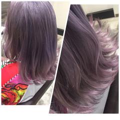 ストリート フェミニン レッド ラベンダー ヘアスタイルや髪型の写真・画像
