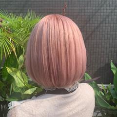 ボブ ピンクラベンダー ピンクベージュ フェミニン ヘアスタイルや髪型の写真・画像