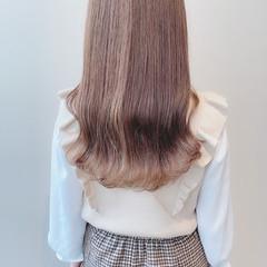 ミルクティーグレージュ セミロング ミルクティーブラウン ミルクティーベージュ ヘアスタイルや髪型の写真・画像