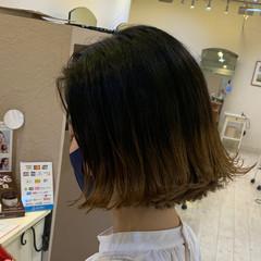 ナチュラル 切りっぱなしボブ 裾カラー ボブ ヘアスタイルや髪型の写真・画像