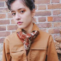 ショート 簡単ヘアアレンジ 外国人風 ストリート ヘアスタイルや髪型の写真・画像