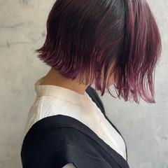 ガーリー ピンクバイオレット 外ハネボブ ピンクパープル ヘアスタイルや髪型の写真・画像