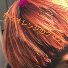 メンズ ブリーチ ショート オレンジ ヘアスタイルや髪型の写真・画像