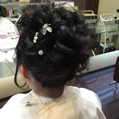 パーティ ヘアアレンジ ロング 黒髪 ヘアスタイルや髪型の写真・画像
