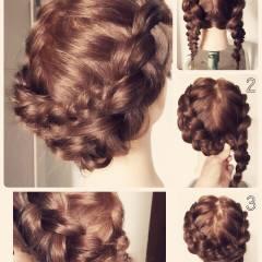 編み込み ヘアアレンジ 裏編み込み ミディアム ヘアスタイルや髪型の写真・画像
