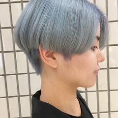 ブルーアッシュ ハンサムショート 大人ショート ショート ヘアスタイルや髪型の写真・画像