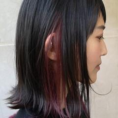 ストリート ハイトーン ボブ インナーカラー ヘアスタイルや髪型の写真・画像