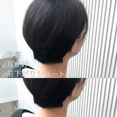 アッシュ ストレート ショート ナチュラル ヘアスタイルや髪型の写真・画像