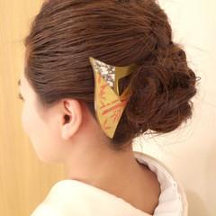 ヘアアレンジ セミロング 結婚式 着物 ヘアスタイルや髪型の写真・画像
