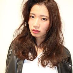 モード ミディアム 暗髪 ヘアアレンジ ヘアスタイルや髪型の写真・画像