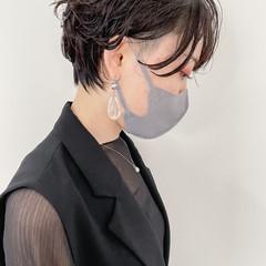 パーマ ショートヘア 無造作パーマ ワンカールパーマ ヘアスタイルや髪型の写真・画像
