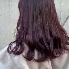 フェミニン ロング ラベンダーアッシュ ブルーラベンダー ヘアスタイルや髪型の写真・画像