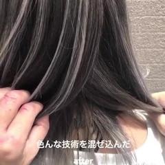 ミディアム バレイヤージュ 3Dハイライト 外国人風 ヘアスタイルや髪型の写真・画像