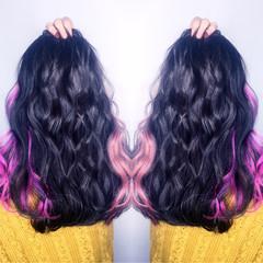 ピンク ガーリー グラデーションカラー レッド ヘアスタイルや髪型の写真・画像