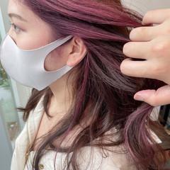 ベリーピンク イヤリングカラー エレガント ラズベリーピンク ヘアスタイルや髪型の写真・画像
