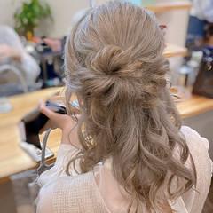 大人ヘアスタイル ハーフアップ ルーズヘア ガーリー ヘアスタイルや髪型の写真・画像