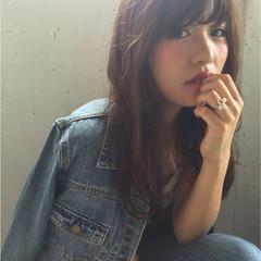 前髪あり パーマ セミロング 外国人風 ヘアスタイルや髪型の写真・画像