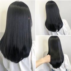 透け感 ダークアッシュ 暗髪 大人ロング ヘアスタイルや髪型の写真・画像
