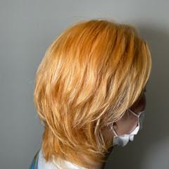 ブリーチ ハイトーンカラー ミディアム 外国人風カラー ヘアスタイルや髪型の写真・画像