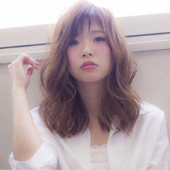 大人女子 フェミニン 大人かわいい セミロング ヘアスタイルや髪型の写真・画像