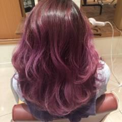 ピンク モード グラデーションカラー パープル ヘアスタイルや髪型の写真・画像