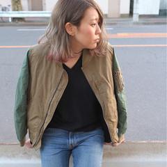 グラデーションカラー ストリート ボブ ピンク ヘアスタイルや髪型の写真・画像