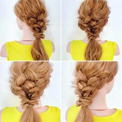 ヘアアレンジ くるりんぱ 三つ編み フェミニン ヘアスタイルや髪型の写真・画像