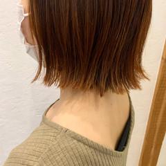 オレンジブラウン オレンジカラー ボブ アプリコットオレンジ ヘアスタイルや髪型の写真・画像