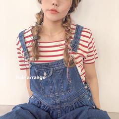 ガーリー 簡単ヘアアレンジ 編みおろし ロング ヘアスタイルや髪型の写真・画像
