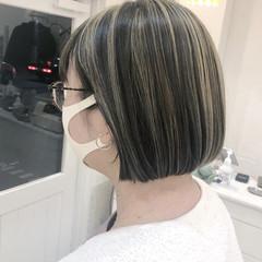 ショートボブ ハイライト ミニボブ ボブ ヘアスタイルや髪型の写真・画像