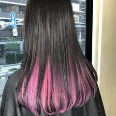 ガーリー ベリーピンク ロング ラベンダーピンク ヘアスタイルや髪型の写真・画像