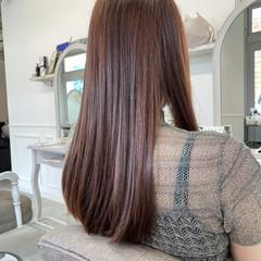 フェミニン 艶髪 ピンクブラウン 透明感カラー ヘアスタイルや髪型の写真・画像