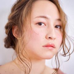 ガーリー ヘアアレンジ ロング 編み込み ヘアスタイルや髪型の写真・画像