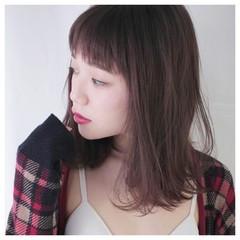 前髪あり ミディアム フェミニン 外国人風 ヘアスタイルや髪型の写真・画像